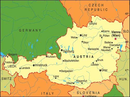 Austria Map Maps Of: Vienna Austria On A Map At Slyspyder.com